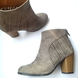 Shoes - Taupe chunky heel ankle booties vegan leather